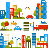 Vector illustration of a city street with colorful icons of cars trees and buildings