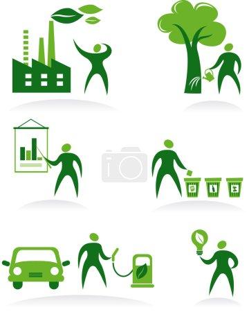 Illustration pour Collecte de figures abstraites, logos et icônes - écologie et recyclage - image libre de droit