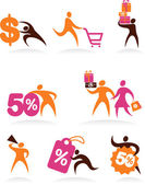 Collection of abstract figures logos and icons - shopping