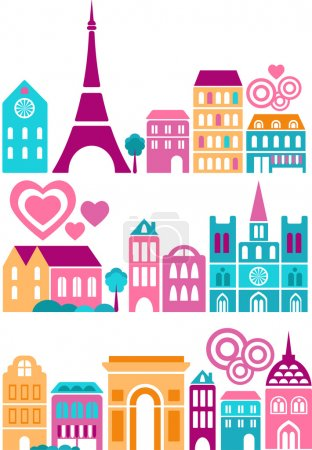 Photo for Vector illustration of a cities of the world with colorful icons of trees and buildings - Royalty Free Image