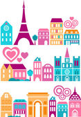 Vector illustration of a cities of the world with colorful icons of trees and buildings