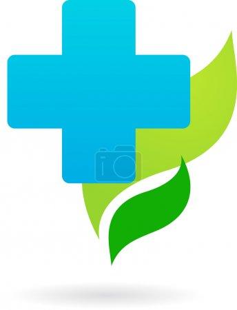 Illustration pour Humanitaire Croix bleue sur fond de feuilles vertes - image libre de droit