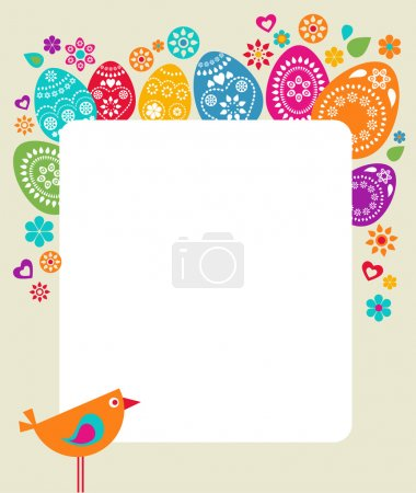 Photo for Easter card template with colored eggs, flowers and a bird - Royalty Free Image