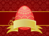 Easter card template with chocolate background and red egg