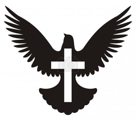 Flying dove silhouette with cross