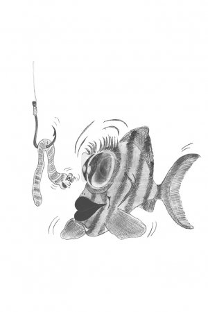 Photo for Surprised fish and smiling worm on a hook, freehand drawing - Royalty Free Image