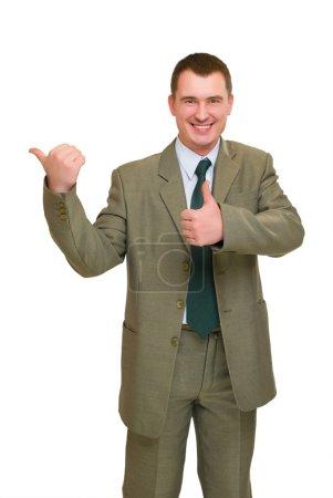 Businessman pointed finger