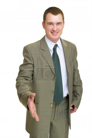 Businessman gesturing hello