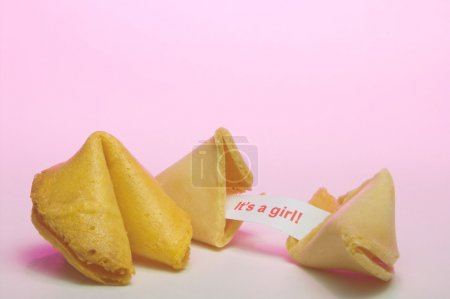 Photo for A fortune cookie announcing the birth of a girl. - Royalty Free Image