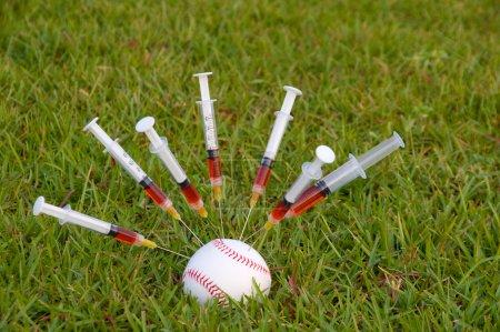 Photo pour Le concept de l'utilisation de l'hormone de croissance humaine dans le sport . - image libre de droit