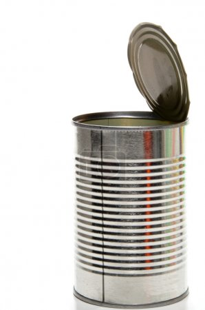 A tin container used for canned foods....