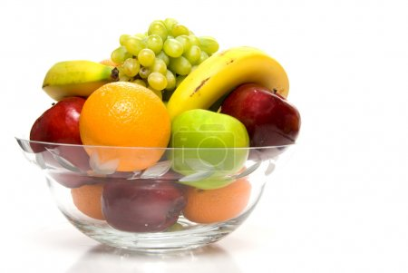 Photo for Assorted fruit in a large crystal bowl. - Royalty Free Image