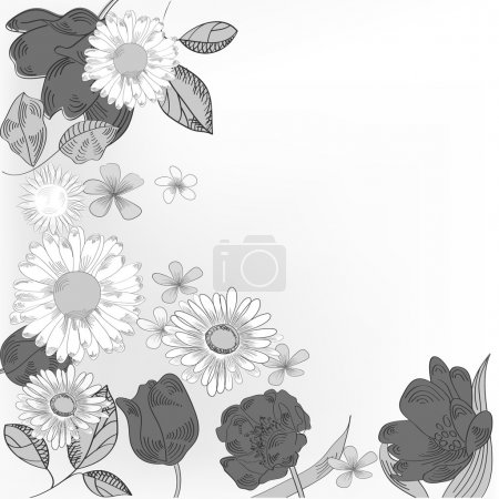 Black and white floral card