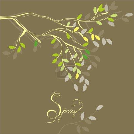 Illustration pour Fond stylisé avec branche de printemps - image libre de droit