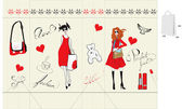 Shopping bag with fashion illustration