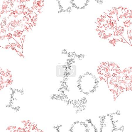 Illustration pour Modèle sans couture avec fleurs et inscription - image libre de droit