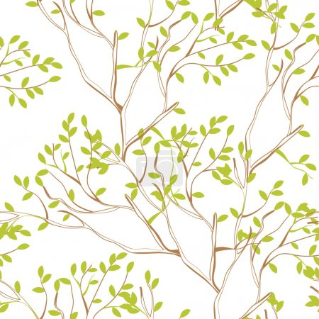 Illustration pour Papier peint sans couture avec des branches d'arbre et feuillage vert printemps - image libre de droit