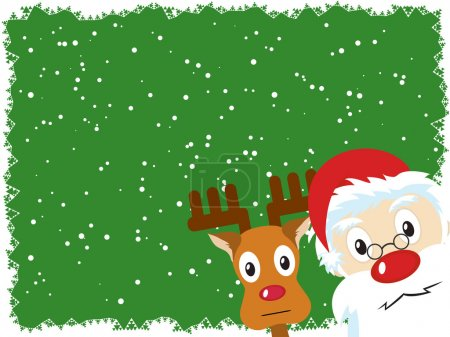 Santa Claus and Rudolph Christmas Card