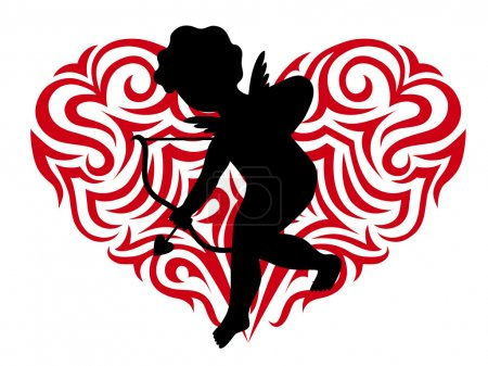 Silhouette cupid and Stylized heart
