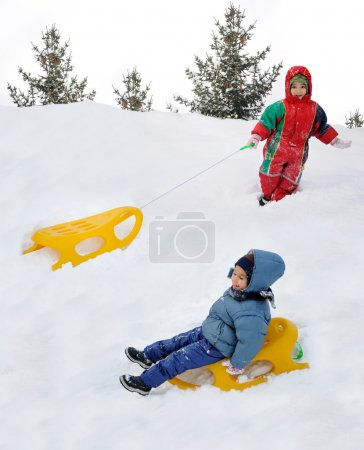 Great activity on snow, children and hap