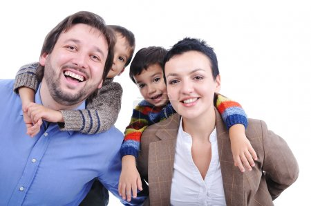 Happy members of young family isolated