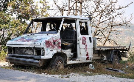 Abandoned destroyed car