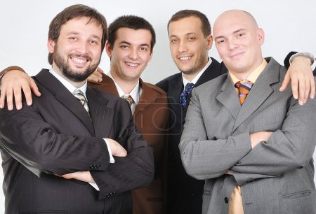Group of young businessmen together on light bac