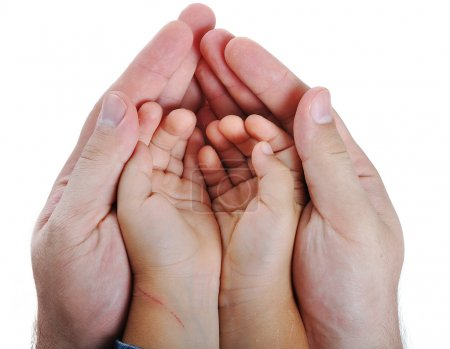 Photo for Big and small hands on isolated background - Royalty Free Image