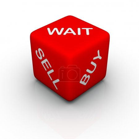 Photo pour Buy, sell, wait (colorful cubes words series) - image libre de droit