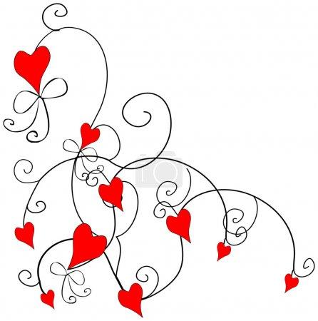 Photo pour Amour coeur élément de conception, frontière, motif fleurs d'amour set1 - image libre de droit