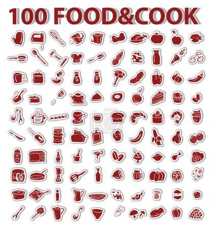 Photo pour Autocollants 100 fonds avec design défini élément thème nourriture et cuisson - image libre de droit