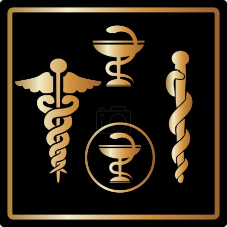 Photo for Gold medical card icons, symbol, medical emblem elegant design. Great for invitations, greeting card - Royalty Free Image