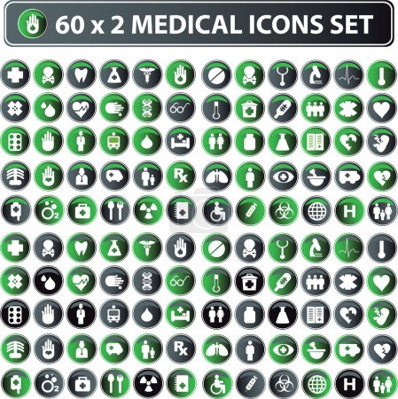 60x2 shiny Medical icons, button web