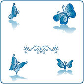 Beautiful butterfly fake paper card