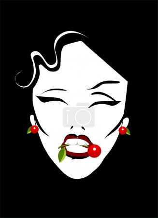 Retro woman with cherry poster