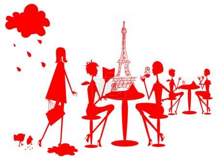 Photo pour Groupe de plongeuses à Paris silhouette, France café, restourant - image libre de droit