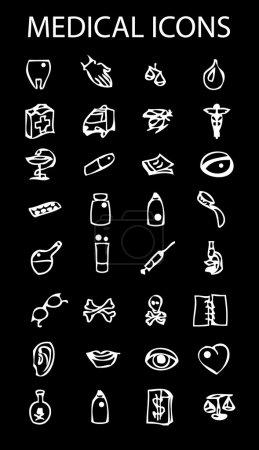 Medical icons set on dark background
