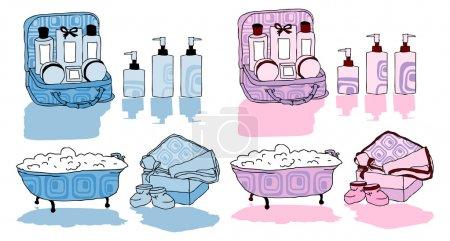 Photo pour Ensemble de bain, élément design, bleu, rose, femme, bébé, spa pour enfants - image libre de droit