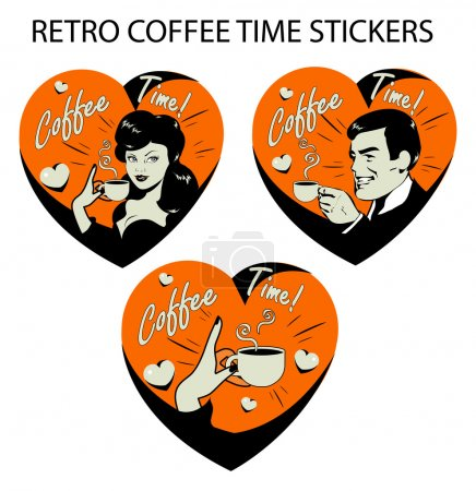 Coffee Lover poster with woman, man, coffee tea label