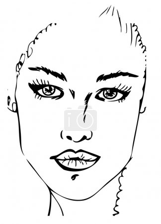 Woman Face tattoo design black and white