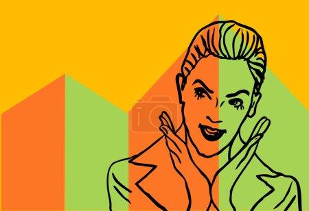 Photo pour Joyeux visage femme d'affaires affiche de fond dans la conception rétro vintage etyle - image libre de droit