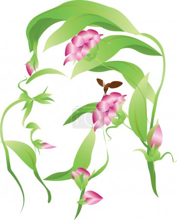 Illustration for Vector organic man flower silhouette with close eyes, leaves and flowers buds - Royalty Free Image