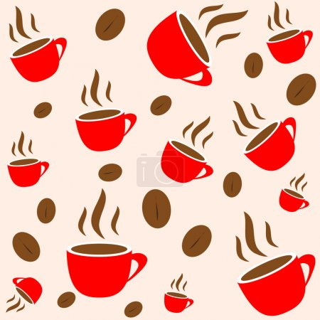 Coffee time, red cup and bean