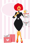 Pretty redhead Woman shopping for lingerie - delight One of cartoon series fashion illustrations