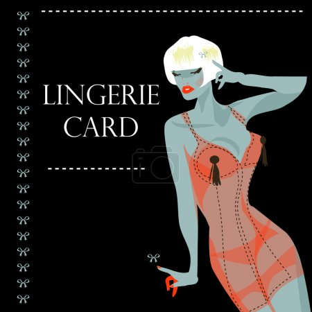 Lingerie card withsexy woman