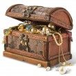 Treasure chest isolated on white background...