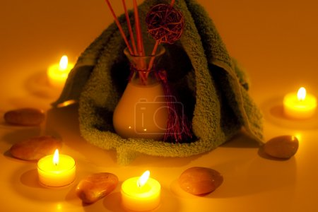 Spa candles, fragrance and towels