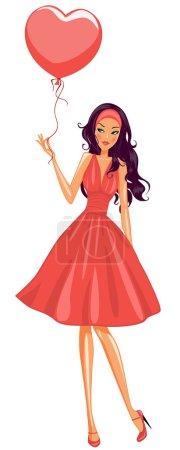 Illustration pour Ballon de jolie fille tenue rouge - image libre de droit