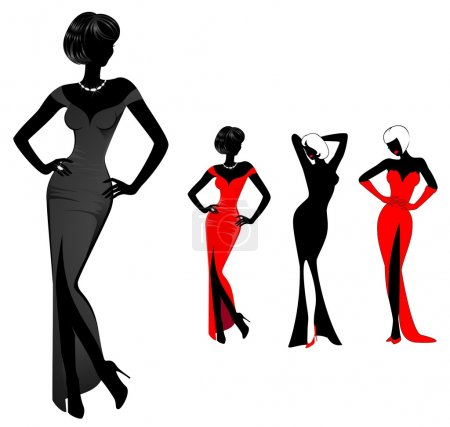 Illustration for Set of beautiful silhouettes of girls on a background for a design - Royalty Free Image