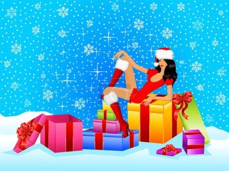 Illustration pour Belle neige Maiden et cadeaux avec un arc sur un fond pour Noël mastides - image libre de droit